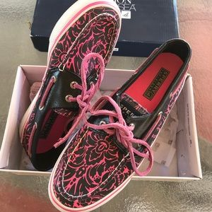 Sperry Pink and Black Boat Shoes